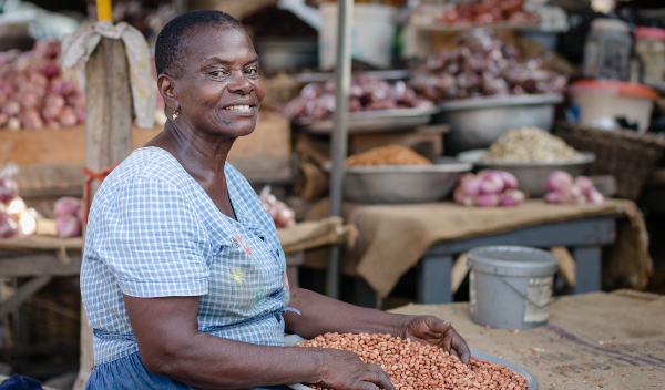 Naa Koshi, an informal trader of groundnuts in Ghana, is a client of the country's new micro-pension scheme, the People's Pension Trust Ghana (PPTG).