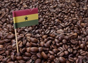 Flag of Ghana sticking in roasted coffee beans.(series)